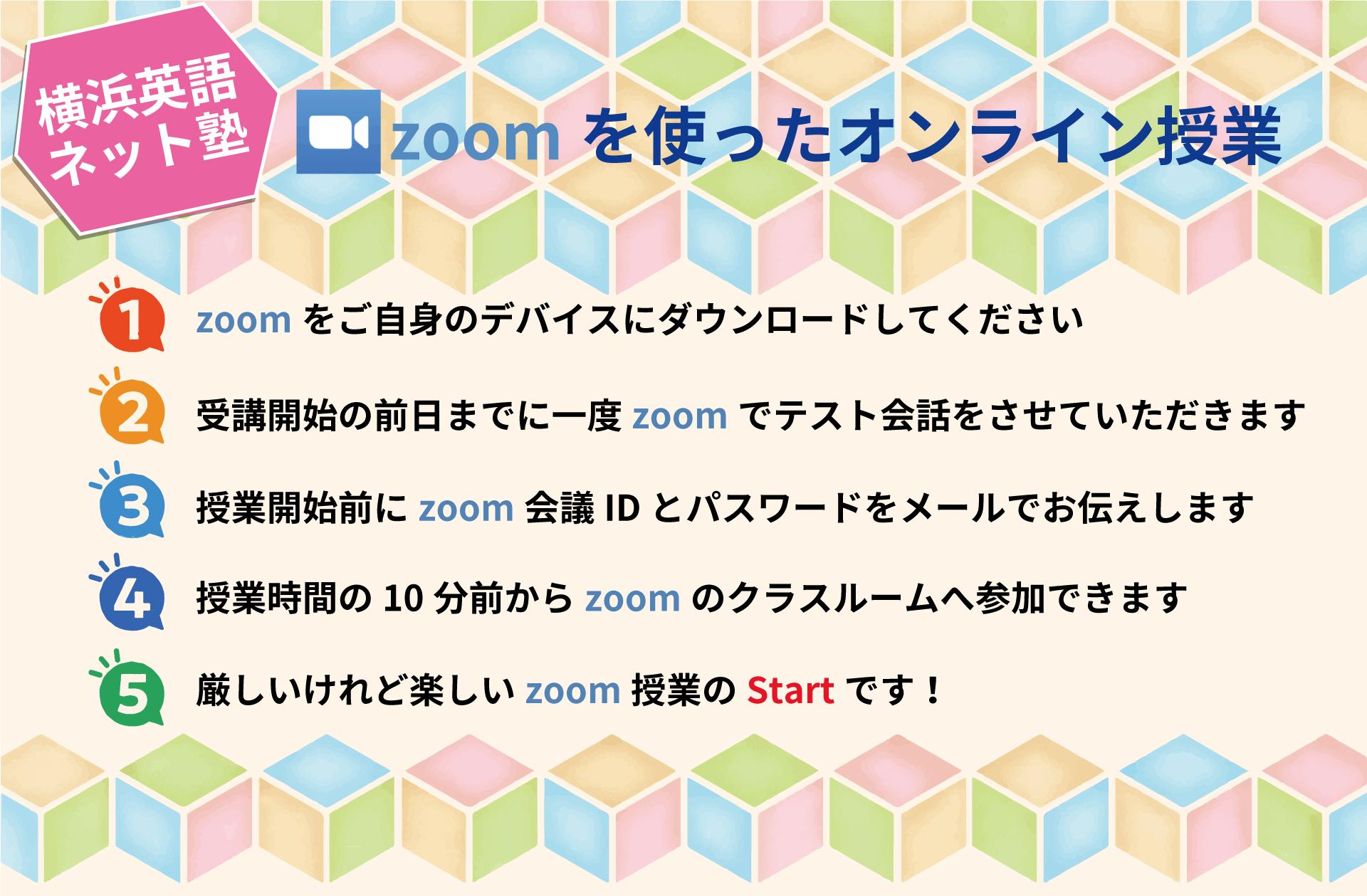 zoomを使用してのオンライン授業ですので通学時間もなく ご自宅からでも他の場所からでも授業に参加できます。